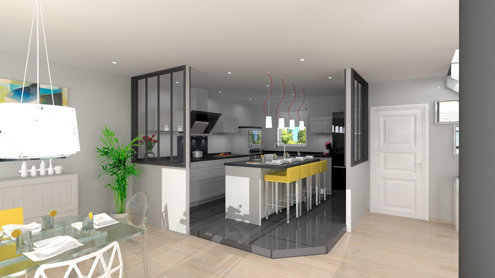 Plan cuisine avec verriere tout sur la cuisine et le - Plan amenagement cuisine 10m2 ...