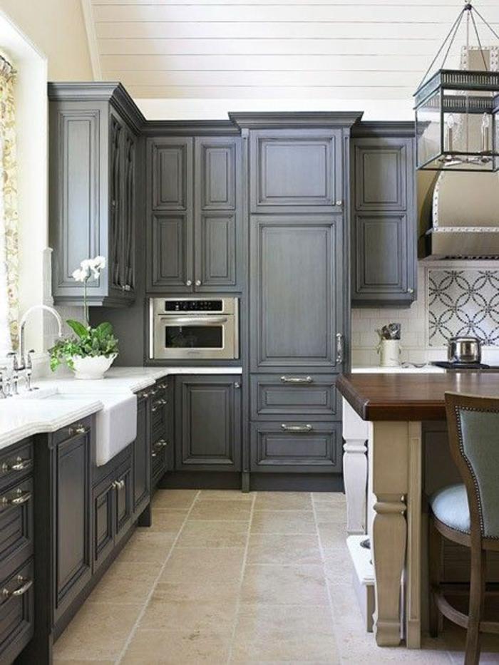 Couleur meuble cuisine avec carrelage gris - Tout sur la ...