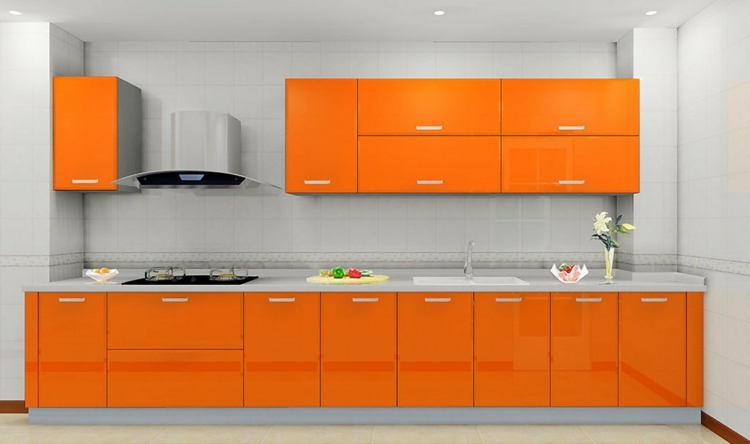 Meuble de cuisine orange