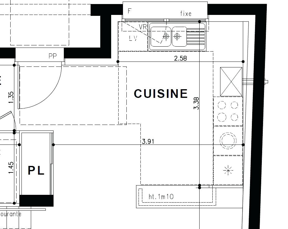 Plan amenagement cuisine en i