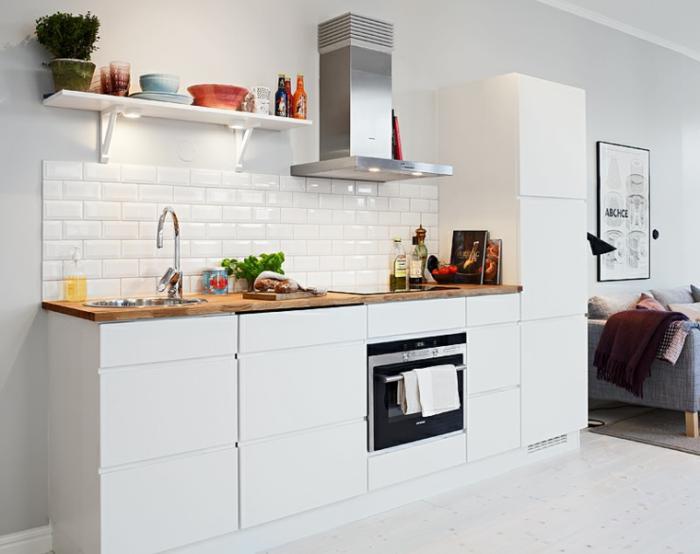 Photo cuisine ouverte blanche