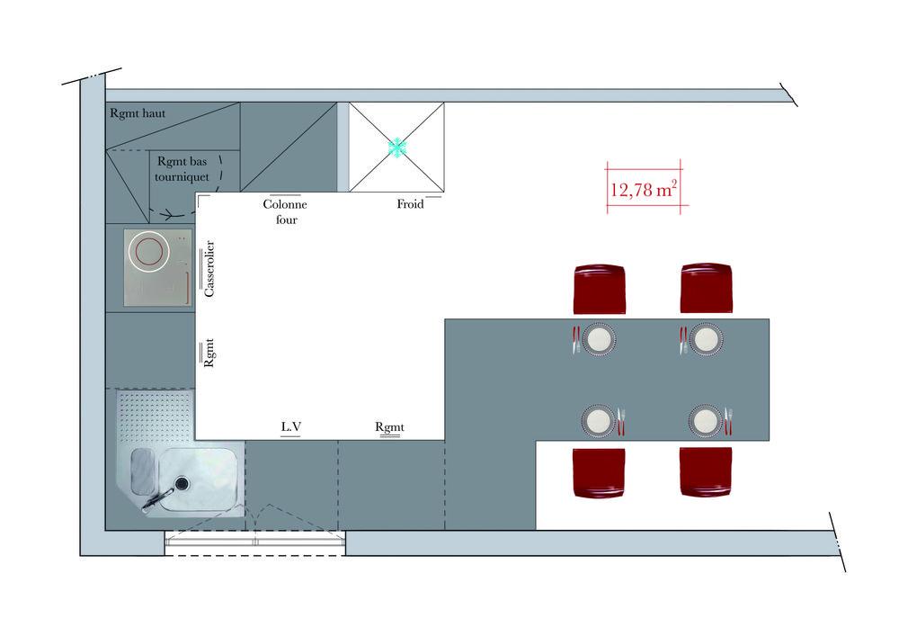 Plan aménagement cuisine rectangulaire