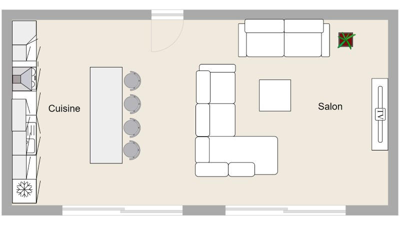 Plan aménagement cuisine salon